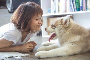 犬と戯れる笑顔の女性