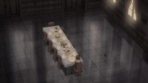 豪邸で1人食事をするゆんゆん