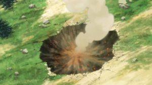 爆裂魔法を放った後の窪んだ大地