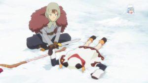 雪精に爆裂魔法を放って雪の上に倒れるめぐみん