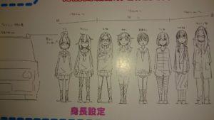 ゆるキャン△キャラクターの身長設定