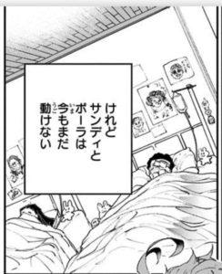 ベッドで眠るサンディとポーラ