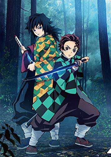 冨岡義勇と炭治郎が剣を構える
